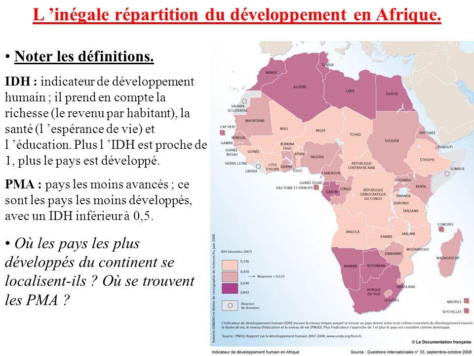 L inégale répartition du développement en Afrique.