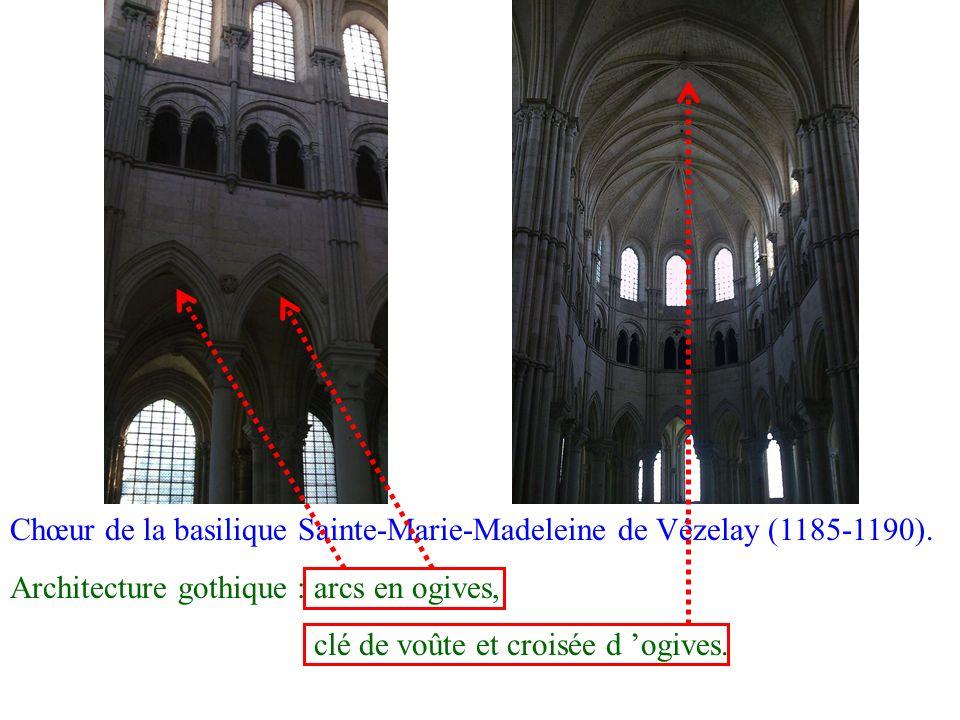Chœur de la basilique Sainte-Marie-Madeleine de Vézelay (1185-1190). Architecture gothique : arcs en ogives, clé de voûte et croisée d ogives.
