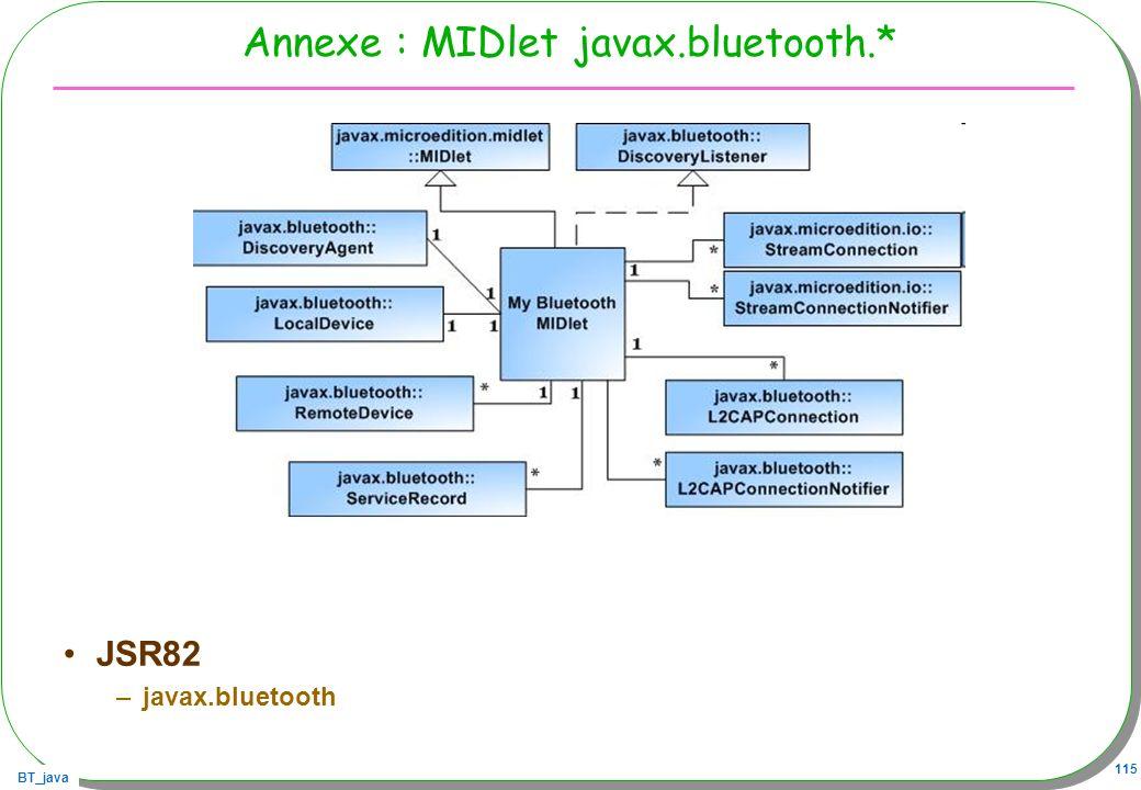 BT_java 115 Annexe : MIDlet javax.bluetooth.* JSR82 –javax.bluetooth