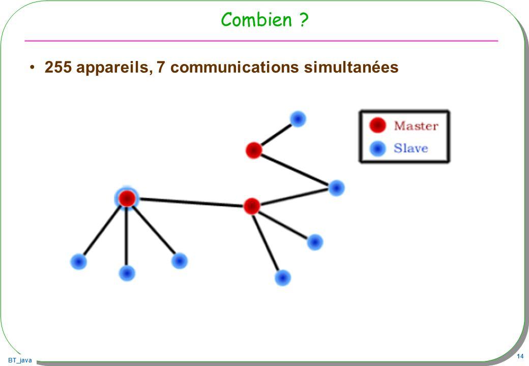 BT_java 14 Combien ? 255 appareils, 7 communications simultanées