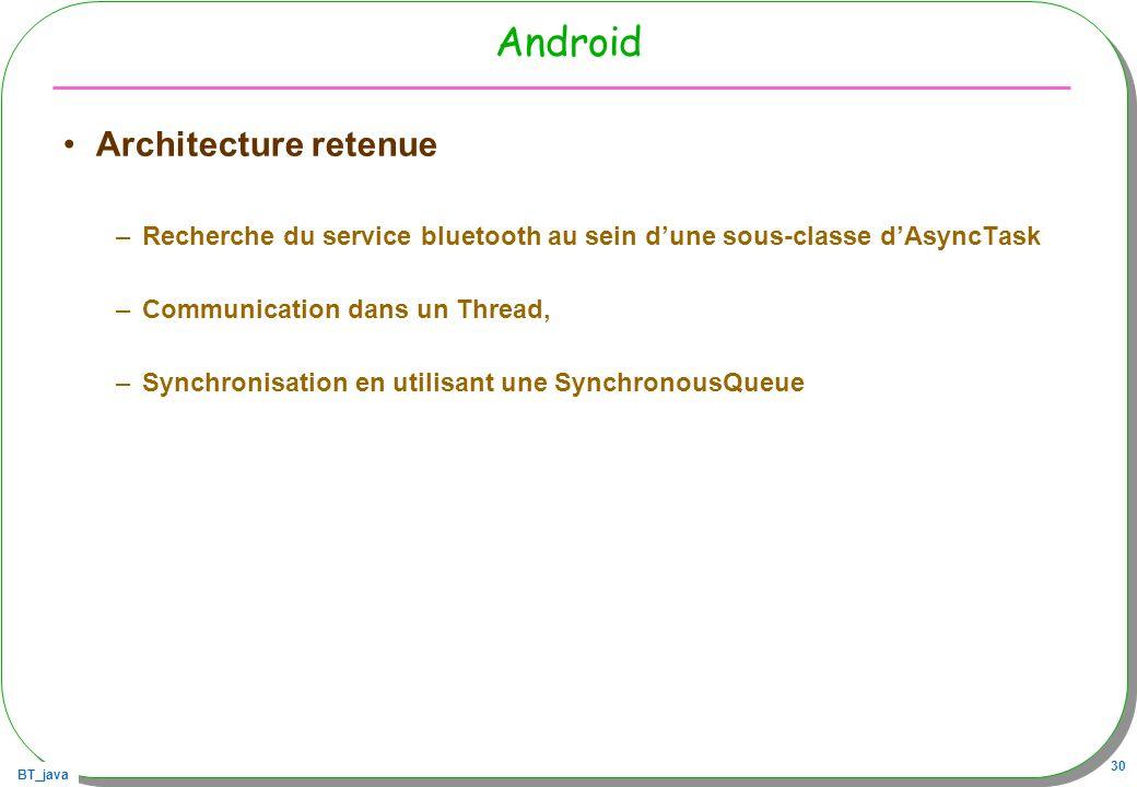 BT_java 30 Android Architecture retenue –Recherche du service bluetooth au sein dune sous-classe dAsyncTask –Communication dans un Thread, –Synchronis