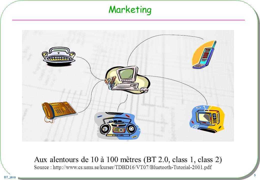 BT_java 46 Autre exemple une borne Bluetooth/HTTP Un service Bluetooth, PC, J2SE relié au web –Attend une connexion BT, réception dune URL (en String) –Effectue la requête –Retourne la page reçue Un client Bluetooth –Recherche ce service –Envoie une URL –Affiche le résultat
