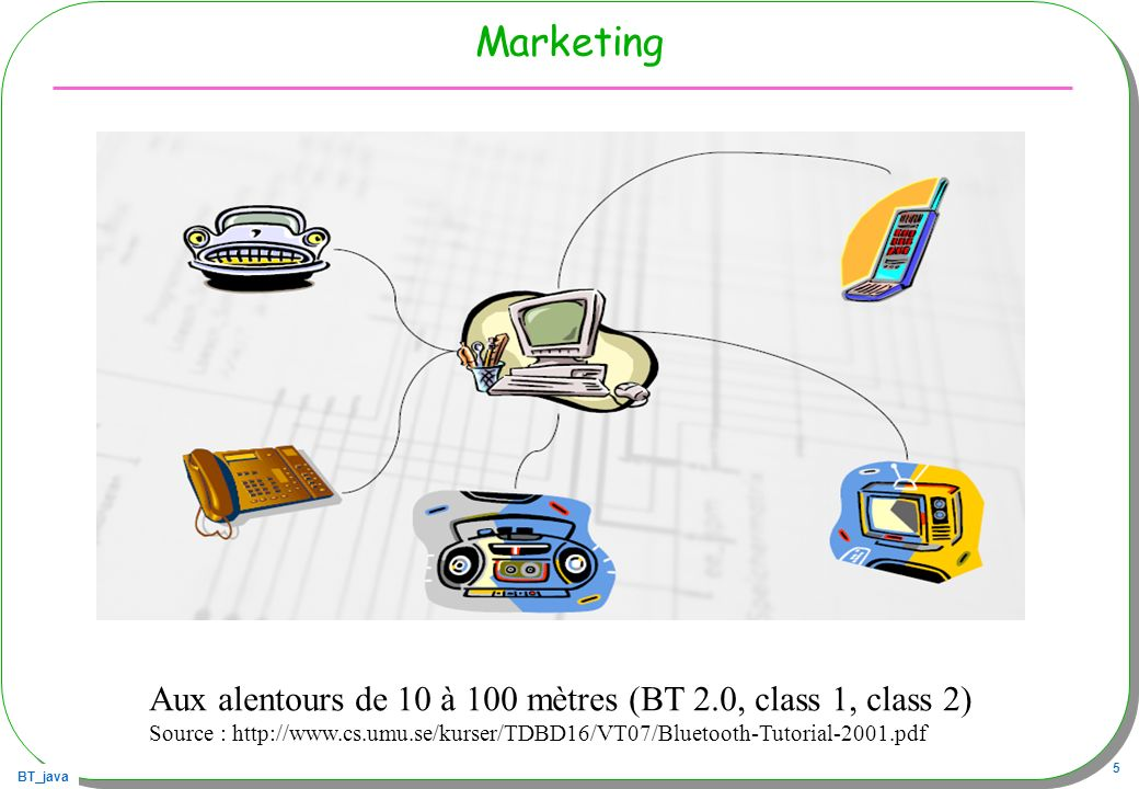 BT_java 5 Marketing Aux alentours de 10 à 100 mètres (BT 2.0, class 1, class 2) Source : http://www.cs.umu.se/kurser/TDBD16/VT07/Bluetooth-Tutorial-20