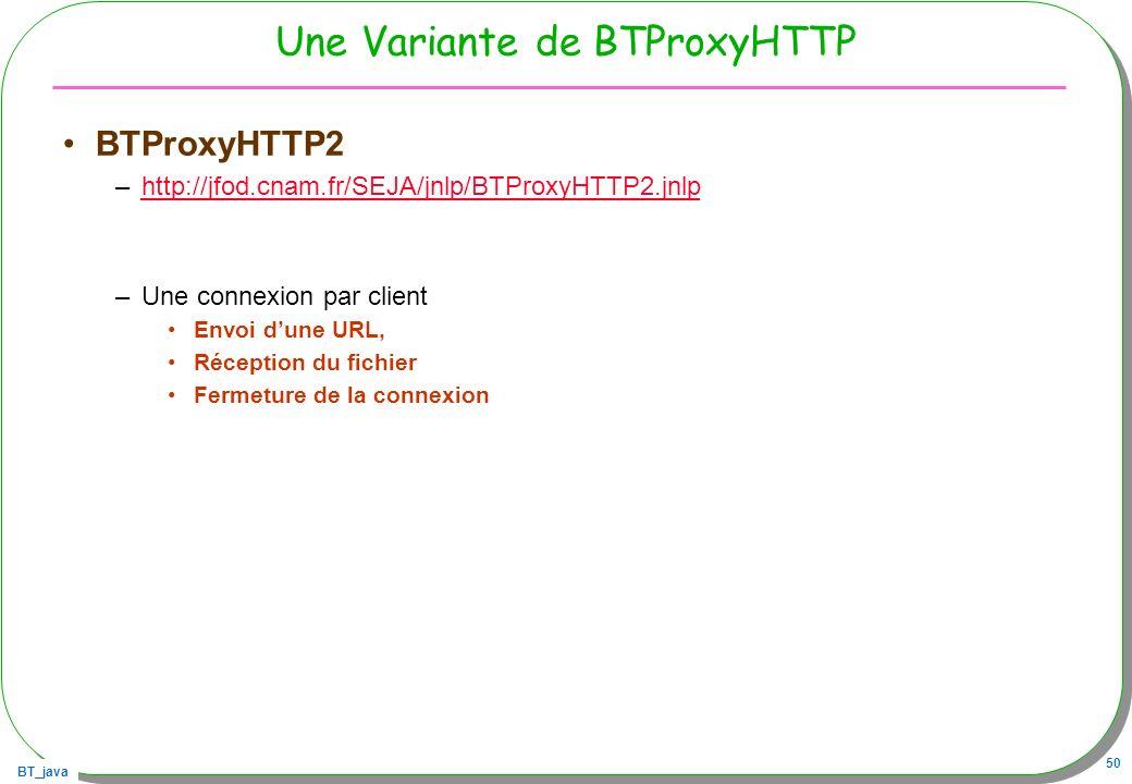 BT_java 50 Une Variante de BTProxyHTTP BTProxyHTTP2 –http://jfod.cnam.fr/SEJA/jnlp/BTProxyHTTP2.jnlphttp://jfod.cnam.fr/SEJA/jnlp/BTProxyHTTP2.jnlp –U