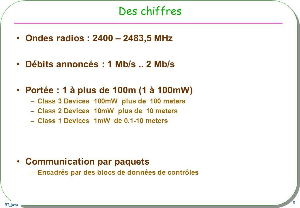 BT_java 8 Des chiffres Ondes radios : 2400 – 2483,5 MHz Débits annoncés : 1 Mb/s.. 2 Mb/s Portée : 1 à plus de 100m (1 à 100mW) –Class 3 Devices 100mW