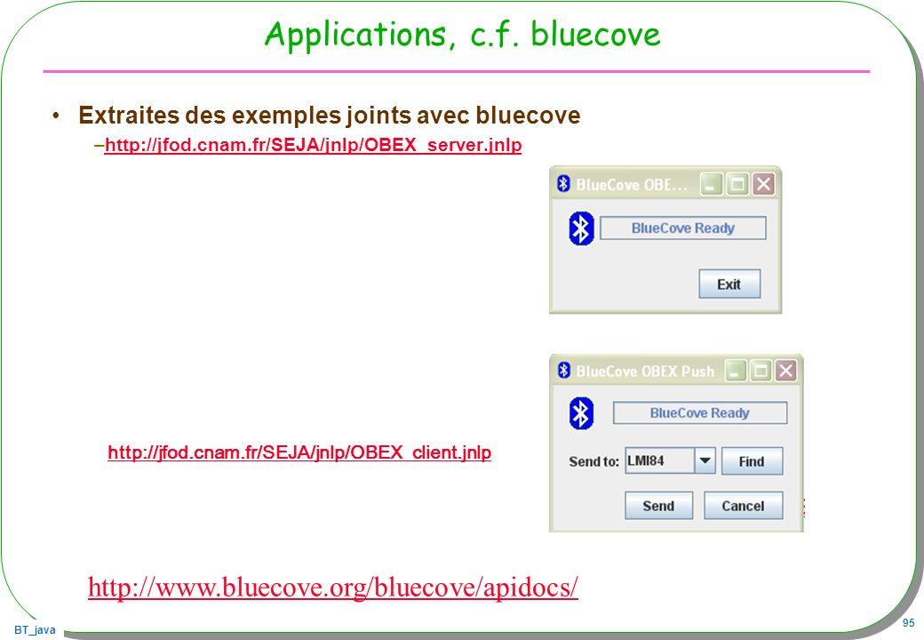 BT_java 95 Applications, c.f. bluecove Extraites des exemples joints avec bluecove –http://jfod.cnam.fr/SEJA/jnlp/OBEX_server.jnlphttp://jfod.cnam.fr/