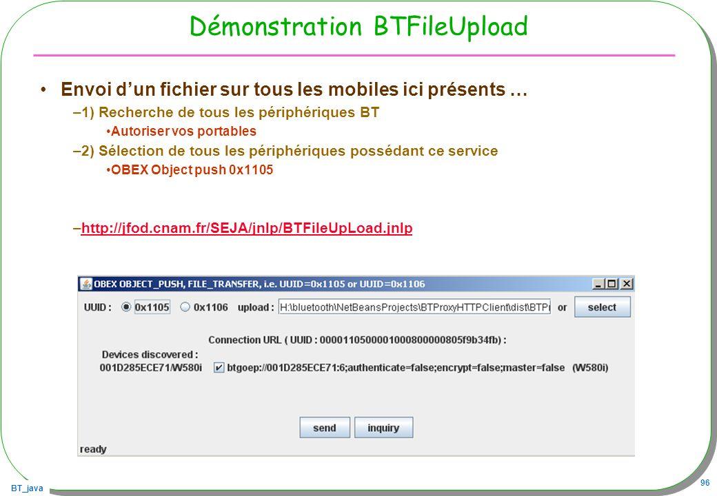 BT_java 96 Démonstration BTFileUpload Envoi dun fichier sur tous les mobiles ici présents … –1) Recherche de tous les périphériques BT Autoriser vos p
