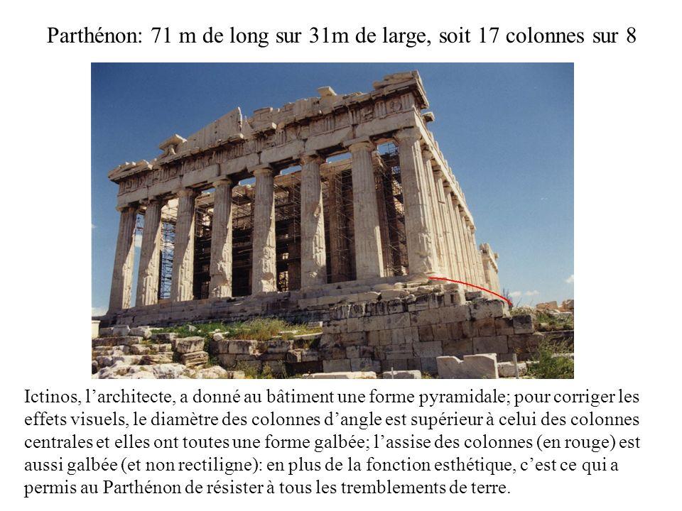 Parthénon: 71 m de long sur 31m de large, soit 17 colonnes sur 8 Ictinos, larchitecte, a donné au bâtiment une forme pyramidale; pour corriger les eff