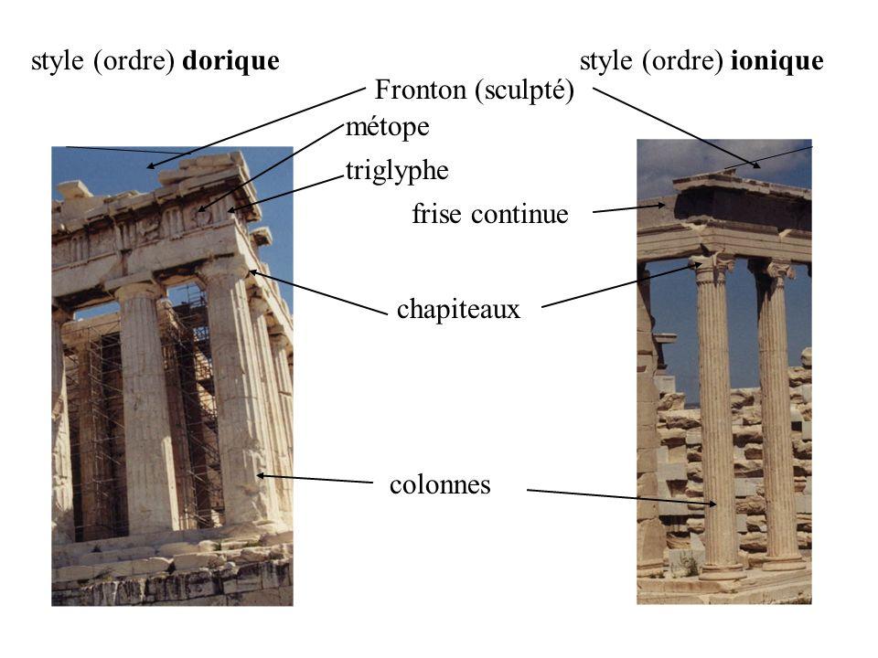 colonnes chapiteaux frise continue métope triglyphe Fronton (sculpté) style (ordre) doriquestyle (ordre) ionique