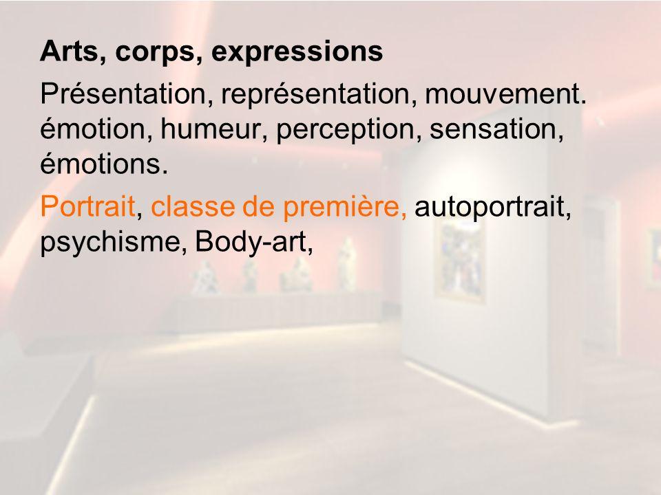 Arts, corps, expressions Présentation, représentation, mouvement. émotion, humeur, perception, sensation, émotions. Portrait, classe de première, auto