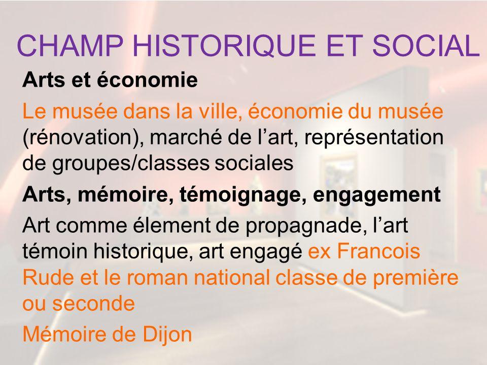 CHAMP HISTORIQUE ET SOCIAL Arts et économie Le musée dans la ville, économie du musée (rénovation), marché de lart, représentation de groupes/classes