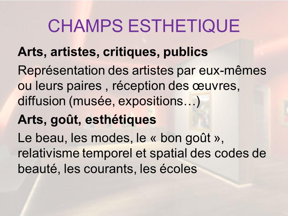 CHAMPS ESTHETIQUE Arts, artistes, critiques, publics Représentation des artistes par eux-mêmes ou leurs paires, réception des œuvres, diffusion (musée