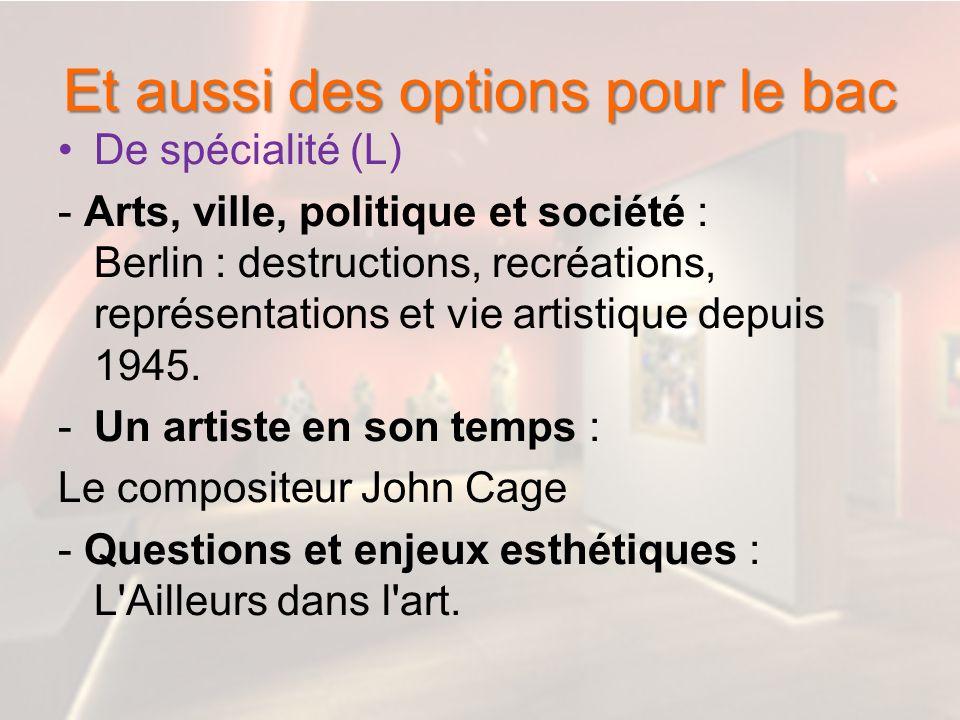Et aussi des options pour le bac De spécialité (L) - Arts, ville, politique et société : Berlin : destructions, recréations, représentations et vie ar