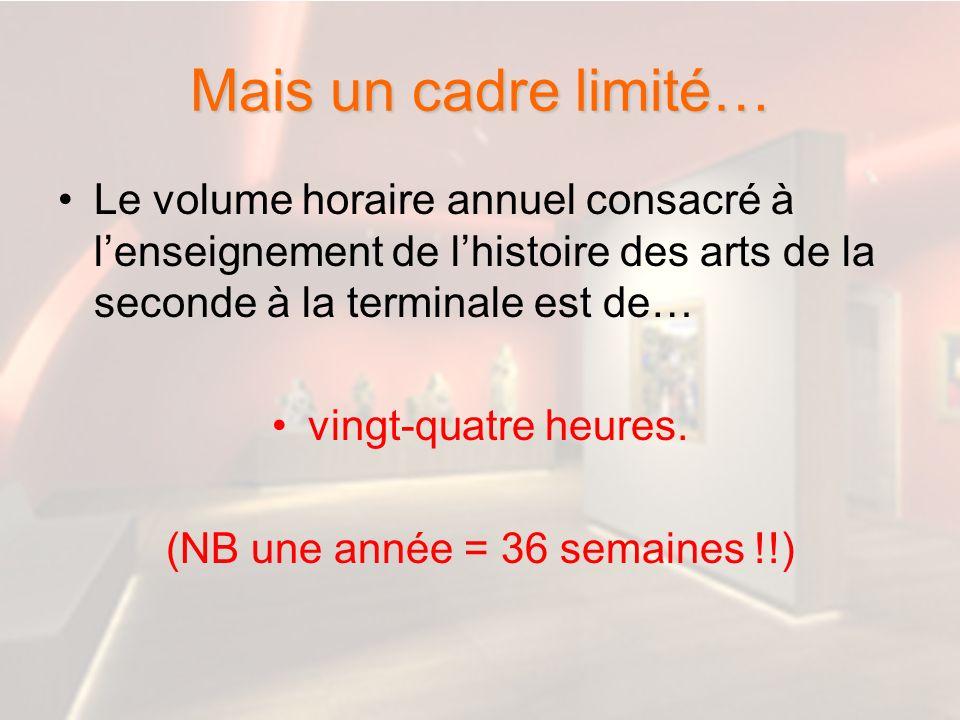 Mais un cadre limité… Le volume horaire annuel consacré à lenseignement de lhistoire des arts de la seconde à la terminale est de… vingt-quatre heures