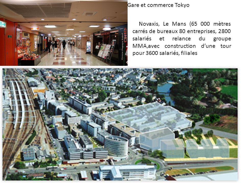 Gare et commerce Tokyo de Philips ou encore du Crédit AgNovaxis, Le Mans (65 000 mètres carrés de bureaux 80 entreprises, 2800 salariés et relance du groupe MMA,avec construction dune tour pour 3600 salariés, filiales ricole