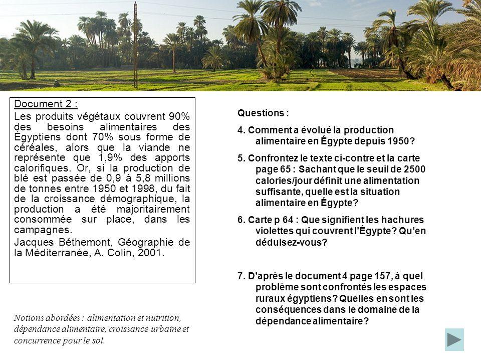 Document 2 : Les produits végétaux couvrent 90% des besoins alimentaires des Égyptiens dont 70% sous forme de céréales, alors que la viande ne représe