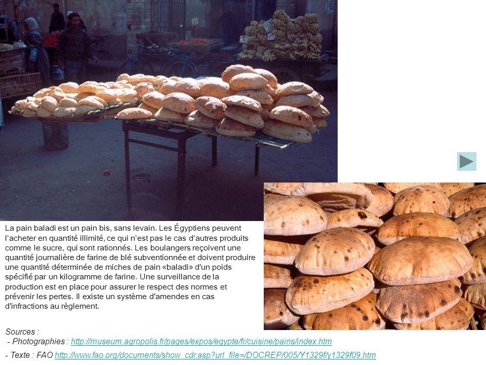 La pain baladi est un pain bis, sans levain. Les Égyptiens peuvent lacheter en quantité illimité, ce qui nest pas le cas dautres produits comme le suc