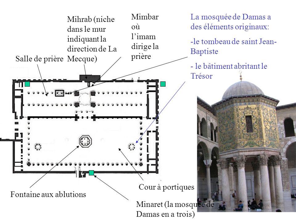 Cour à portiques Fontaine aux ablutions Salle de prière Mihrab (niche dans le mur indiquant la direction de La Mecque) Mimbar où limam dirige la prière Minaret (la mosquée de Damas en a trois) La mosquée de Damas a des éléments originaux: -le tombeau de saint Jean- Baptiste - le bâtiment abritant le Trésor