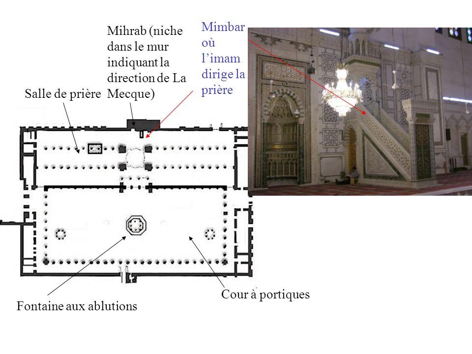 Cour à portiques Fontaine aux ablutions Salle de prière Mihrab (niche dans le mur indiquant la direction de La Mecque) Mimbar où limam dirige la prière Minaret (la mosquée de Damas en a trois)