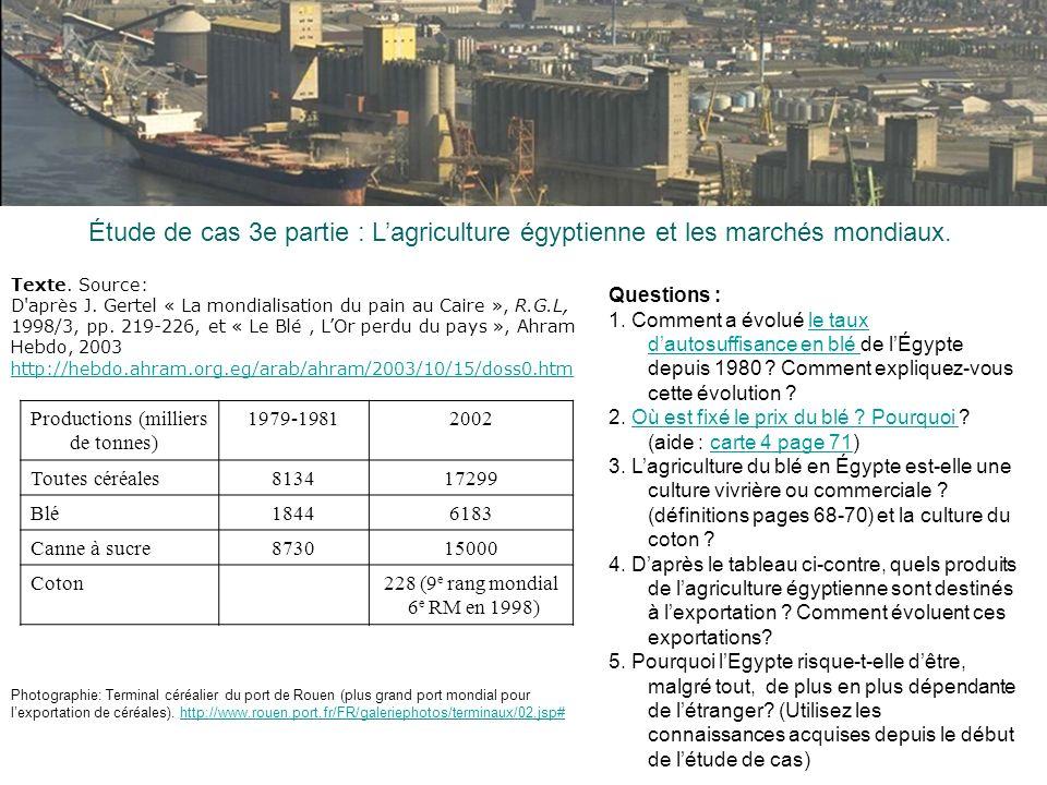 Étude de cas 3e partie : Lagriculture égyptienne et les marchés mondiaux. Photographie: Terminal céréalier du port de Rouen (plus grand port mondial p