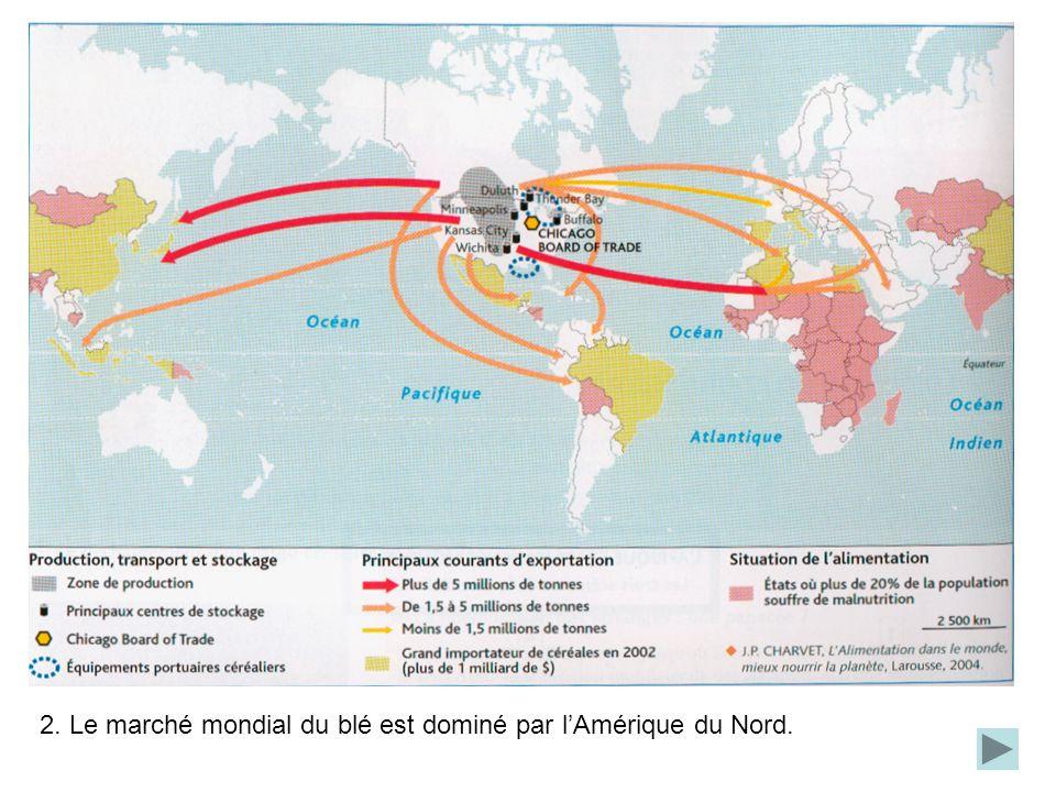 2. Le marché mondial du blé est dominé par lAmérique du Nord.