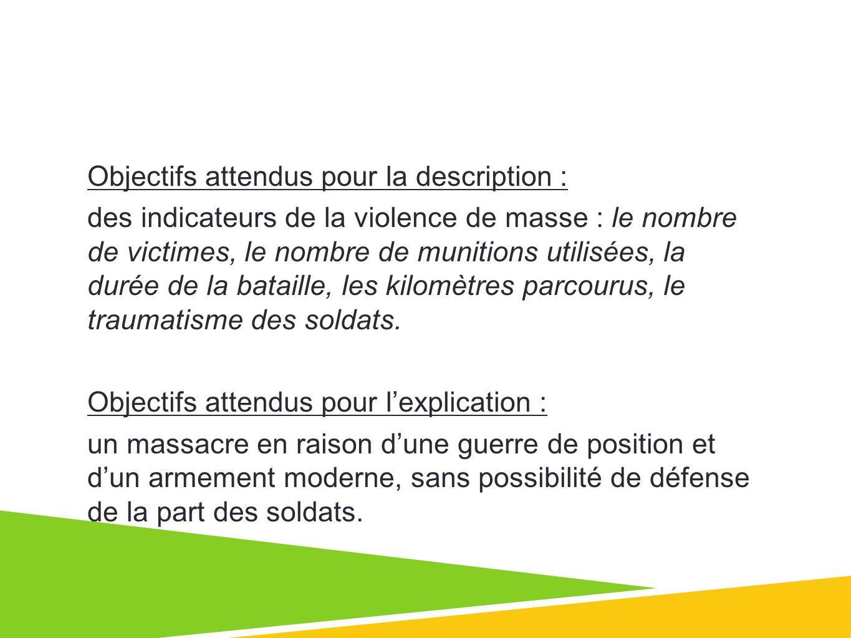 Objectifs attendus pour la description : des indicateurs de la violence de masse : le nombre de victimes, le nombre de munitions utilisées, la durée de la bataille, les kilomètres parcourus, le traumatisme des soldats.