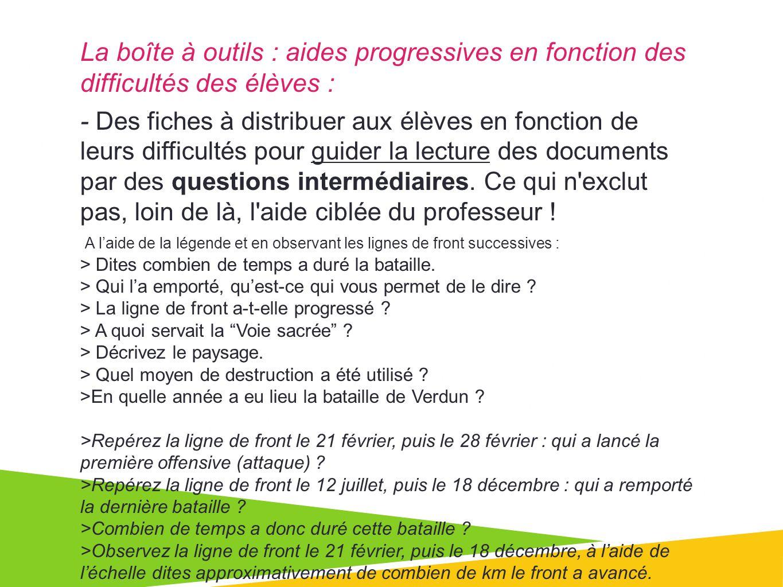 La boîte à outils : aides progressives en fonction des difficultés des élèves : - Des fiches à distribuer aux élèves en fonction de leurs difficultés pour guider la lecture des documents par des questions intermédiaires.