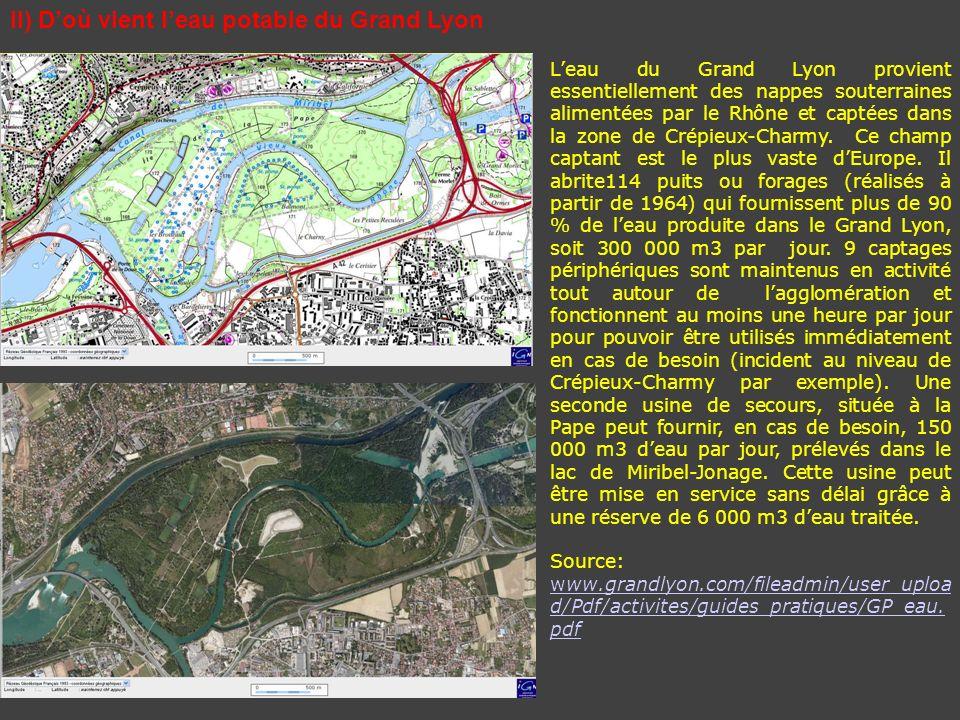II) Doù vient leau potable du Grand Lyon Leau du Grand Lyon provient essentiellement des nappes souterraines alimentées par le Rhône et captées dans l