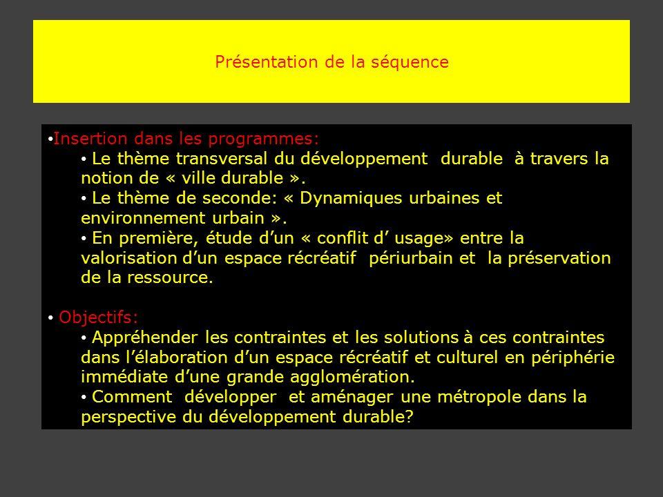 Présentation de la séquence Insertion dans les programmes: Le thème transversal du développement durable à travers la notion de « ville durable ». Le