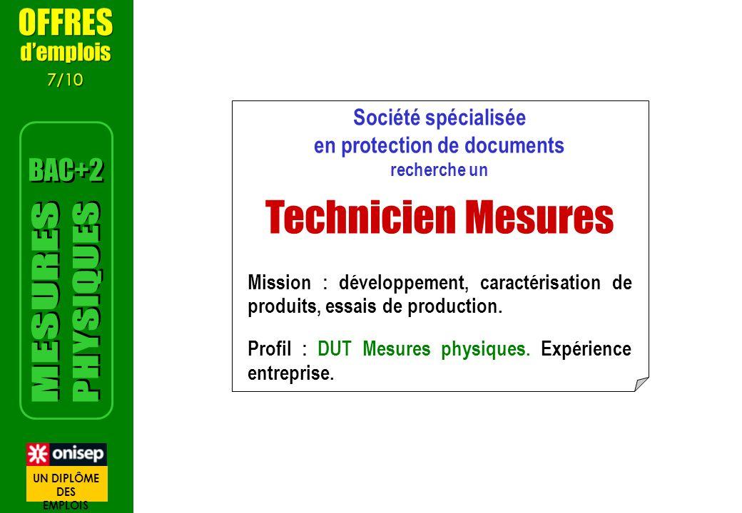 Société spécialisée en protection de documents recherche un Technicien Mesures Mission : développement, caractérisation de produits, essais de production.