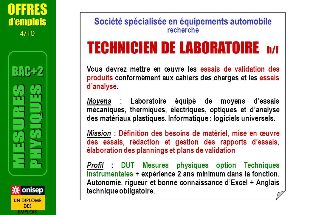 Société spécialisée en équipements automobile recherche TECHNICIEN DE LABORATOIRE h/f Vous devrez mettre en œuvre les essais de validation des produits conformément aux cahiers des charges et les essais danalyse.