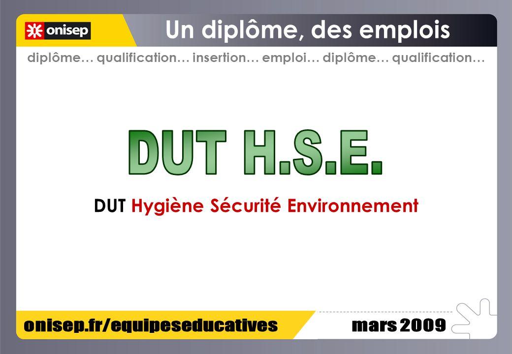 DUT Hygiène Sécurité Environnement diplôme… qualification… insertion… emploi… diplôme… qualification…