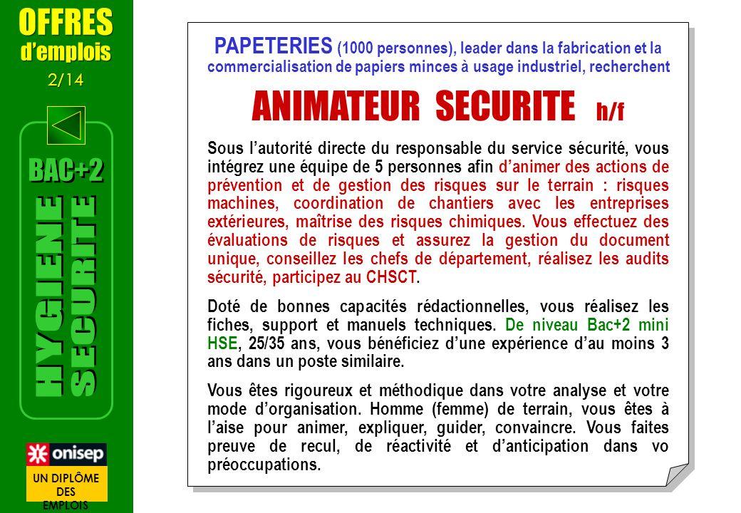 PAPETERIES (1000 personnes), leader dans la fabrication et la commercialisation de papiers minces à usage industriel, recherchent ANIMATEUR SECURITE h