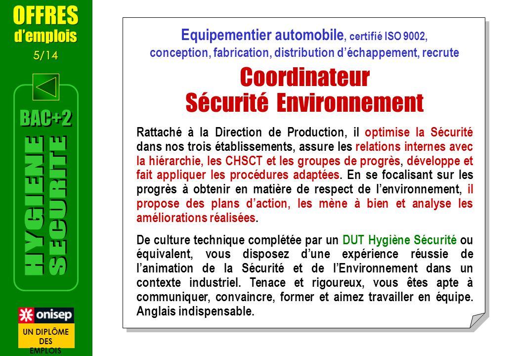 Equipementier automobile, certifié ISO 9002, conception, fabrication, distribution déchappement, recrute Coordinateur Sécurité Environnement Rattaché
