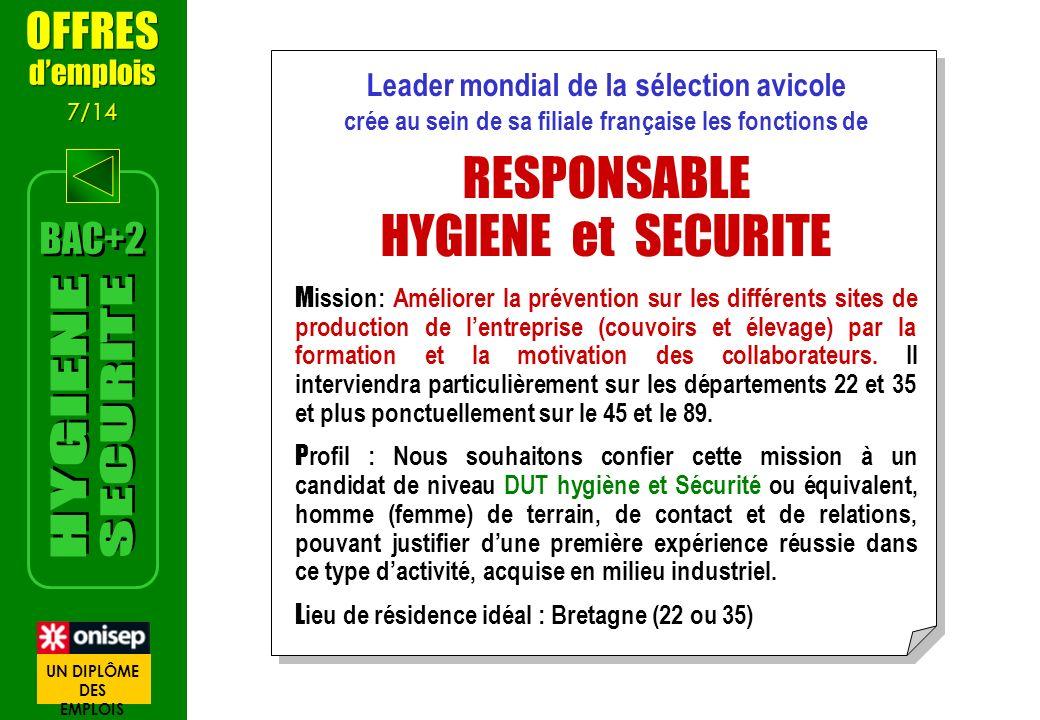 Leader mondial de la sélection avicole crée au sein de sa filiale française les fonctions de RESPONSABLE HYGIENE et SECURITE M ission: Améliorer la pr
