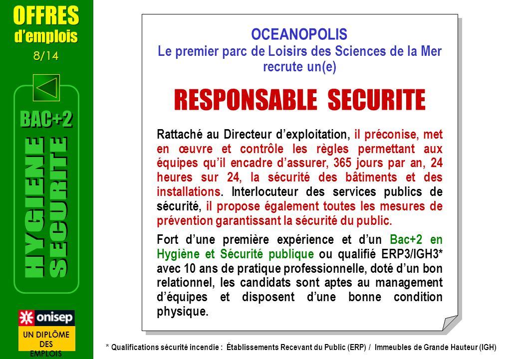 OCEANOPOLIS Le premier parc de Loisirs des Sciences de la Mer recrute un(e) RESPONSABLE SECURITE Rattaché au Directeur dexploitation, il préconise, me