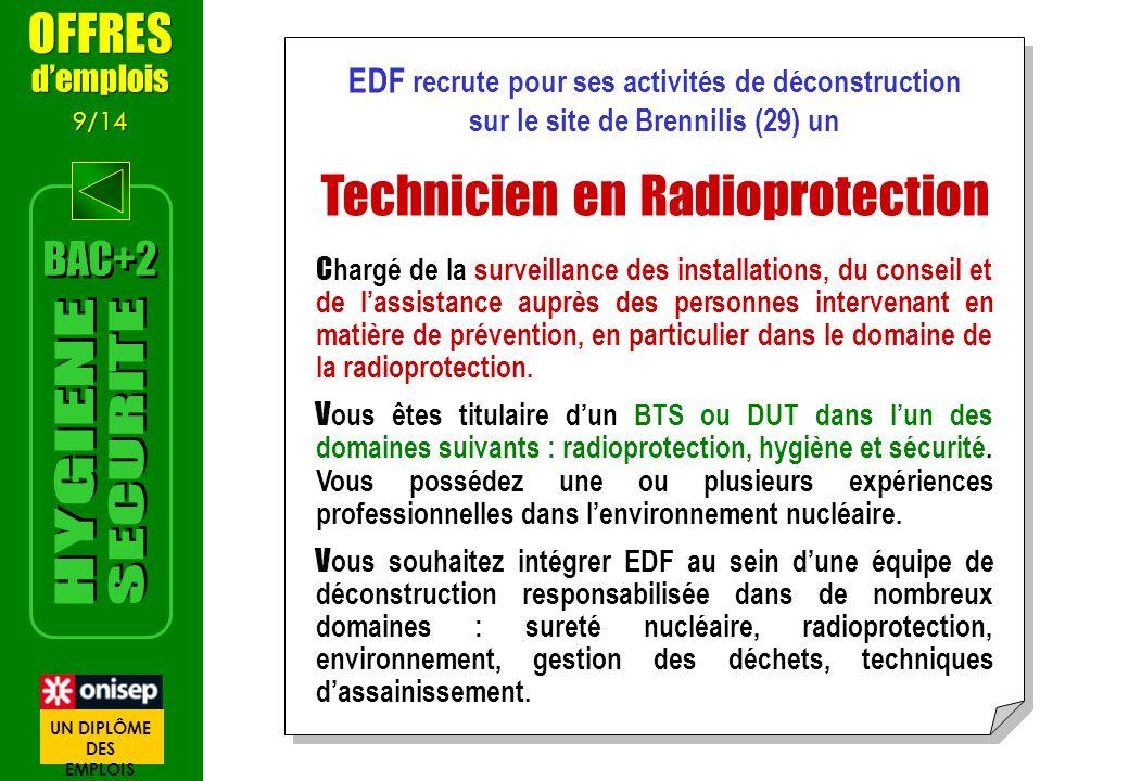 EDF recrute pour ses activités de déconstruction sur le site de Brennilis (29) un Technicien en Radioprotection C hargé de la surveillance des install