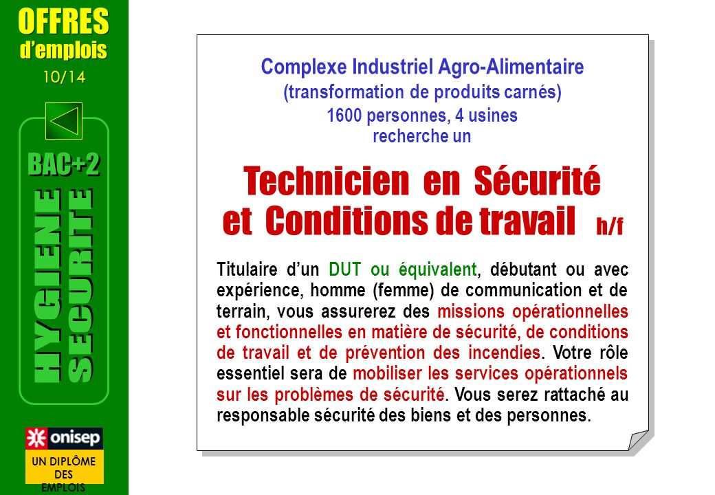 Complexe Industriel Agro-Alimentaire (transformation de produits carnés) 1600 personnes, 4 usines recherche un Technicien en Sécurité et Conditions de