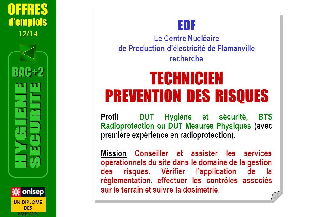 EDF Le Centre Nucléaire de Production délectricité de Flamanville recherche TECHNICIEN PREVENTION DES RISQUES Profil DUT Hygiène et sécurité, BTS Radi