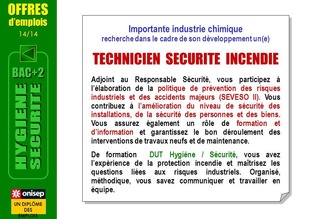 Importante industrie chimique recherche dans le cadre de son développement un(e) TECHNICIEN SECURITE INCENDIE Adjoint au Responsable Sécurité, vous pa