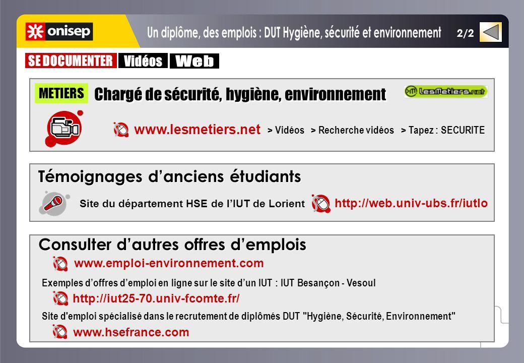 2/2 METIERS www.lesmetiers.net > Vidéos > Recherche vidéos > Tapez : SECURITE Chargé de sécurité, hygiène, environnement Témoignages danciens étudiant