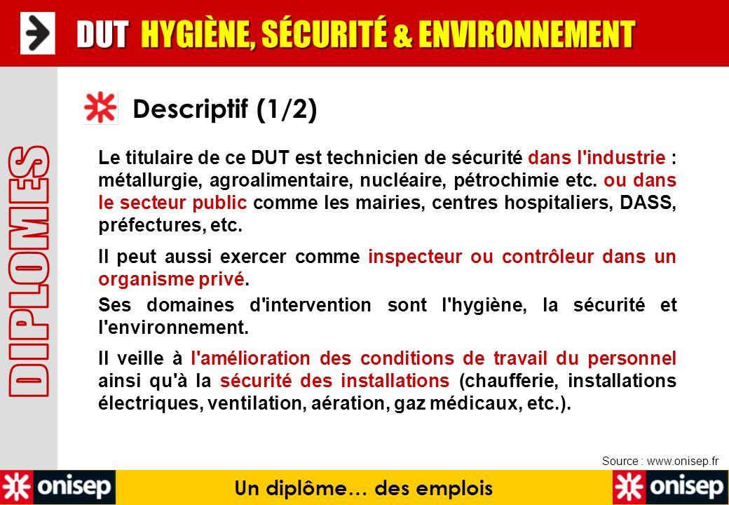 Un diplôme… des emplois Source : www.onisep.fr DUT HYGIÈNE, SÉCURITÉ & ENVIRONNEMENT Descriptif (2/2) Face à un risque (incendie, pollution, etc.), il est capable de l identifier, de l analyser, de définir et mettre en place des mesures préventives, de vérifier leur efficacité.