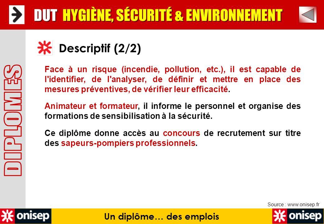 Un diplôme… des emplois Source : www.onisep.fr DUT HYGIÈNE, SÉCURITÉ & ENVIRONNEMENT Descriptif (2/2) Face à un risque (incendie, pollution, etc.), il