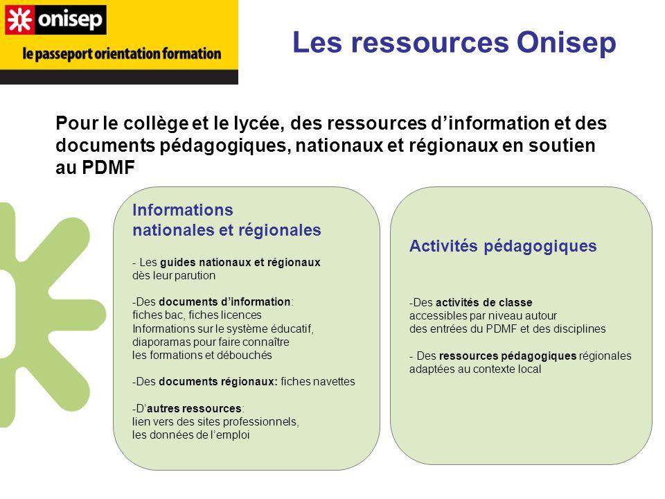 Les ressources Onisep Pour le collège et le lycée, des ressources dinformation et des documents pédagogiques, nationaux et régionaux en soutien au PDM