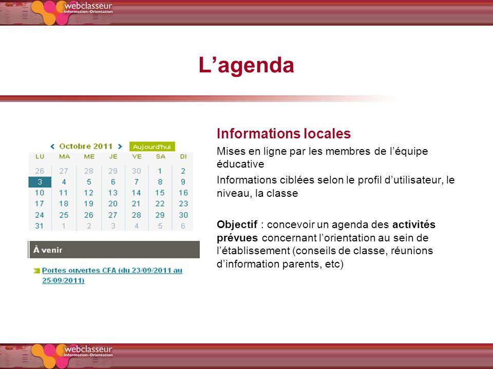 Lagenda Informations locales Mises en ligne par les membres de léquipe éducative Informations ciblées selon le profil dutilisateur, le niveau, la clas