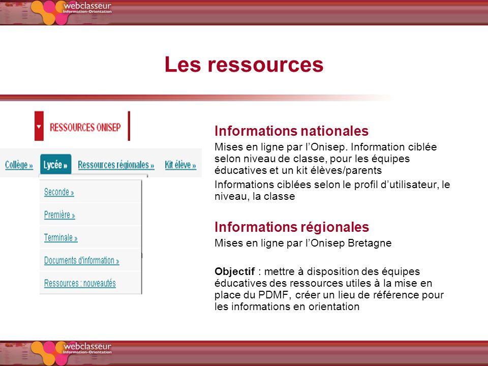 Les ressources Informations nationales Mises en ligne par lOnisep. Information ciblée selon niveau de classe, pour les équipes éducatives et un kit él