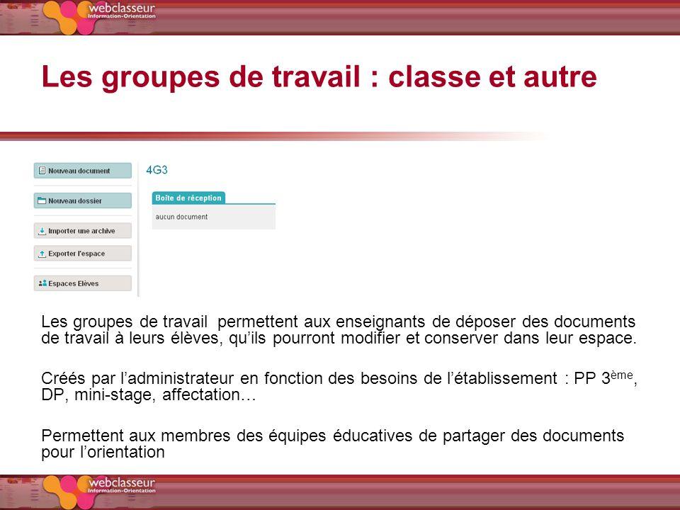 Les groupes de travail : classe et autre Les groupes de travail permettent aux enseignants de déposer des documents de travail à leurs élèves, quils p