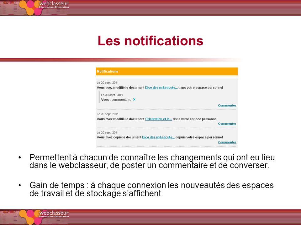 Les notifications Permettent à chacun de connaître les changements qui ont eu lieu dans le webclasseur, de poster un commentaire et de converser. Gain