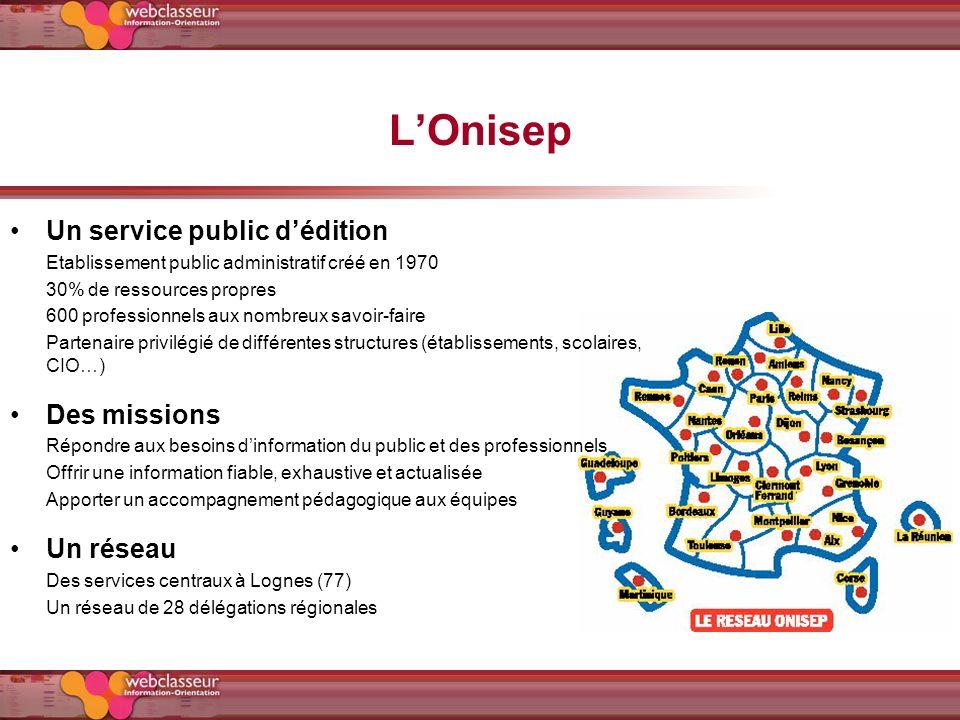 LOnisep Un service public dédition Etablissement public administratif créé en 1970 30% de ressources propres 600 professionnels aux nombreux savoir-fa
