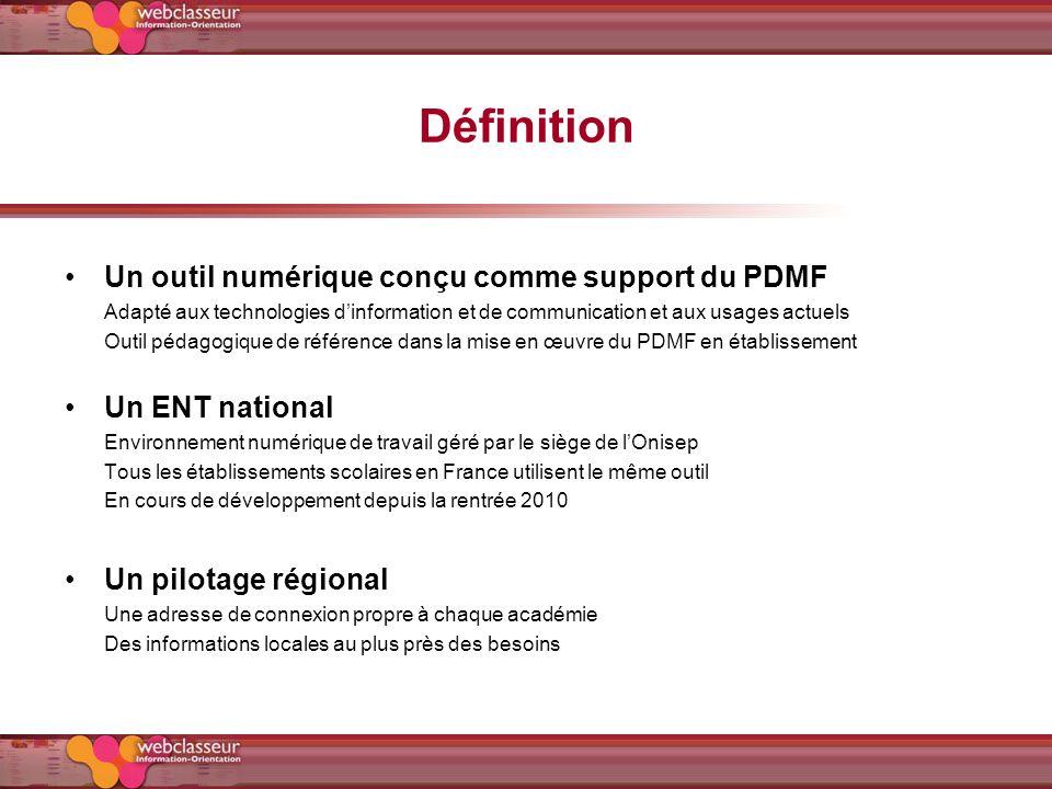 Définition Un outil numérique conçu comme support du PDMF Adapté aux technologies dinformation et de communication et aux usages actuels Outil pédagog
